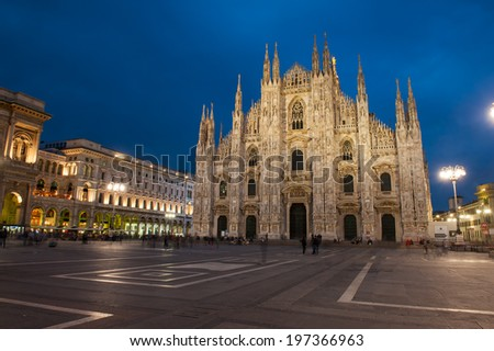 Famous Milan Cathedral is the fifth largest cathedral in the world. Photo taken with a long exposure after sunset, Milan, Italy - stock photo