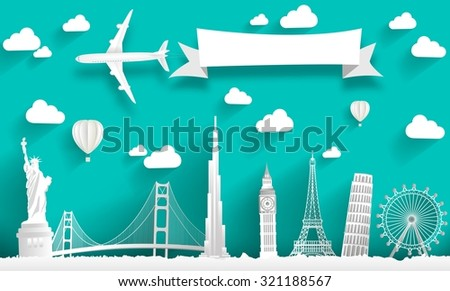 Famous monuments of the world. Concept design - stock photo