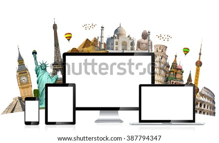 Famous monuments of the world grouped together behind tech devices on white background - stock photo