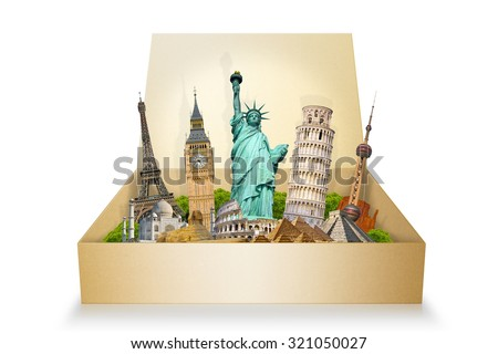 Famous monuments of the world grouped together in a box - stock photo
