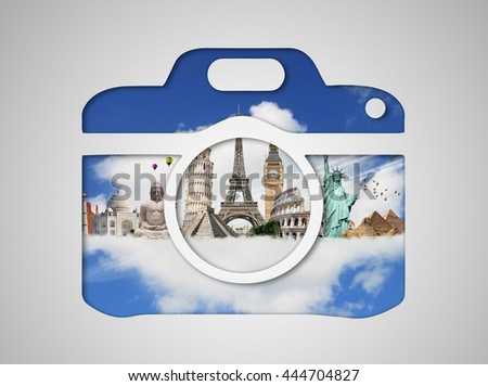 Famous monuments of the world grouped together in a camera icon - stock photo
