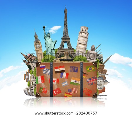 Famous monuments of the world grouped together in a suitcase - stock photo