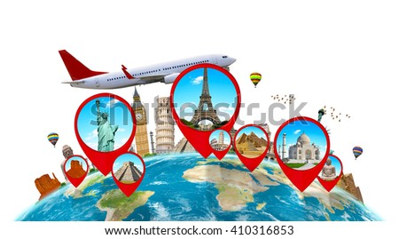 Famous monuments of the world grouped together on a map with pin icon on white background - stock photo