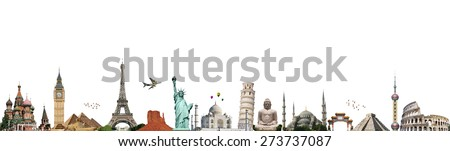 Famous monuments of the world illustrating the travel and holidays - stock photo
