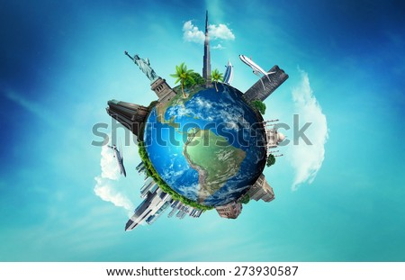 Famous monuments of the world surrounding of the earth - Elements of this image furnished by NASA. - stock photo