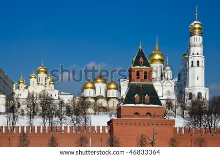Famous Moscow Kremlin and its beautiful churches - stock photo