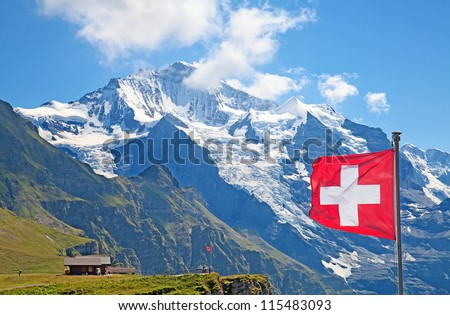 Famous mount Jungfrau in the swiss alps - stock photo