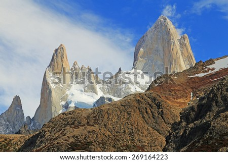 Famous Mt.Fitz Roy summit in Patagonia, Argentina - stock photo