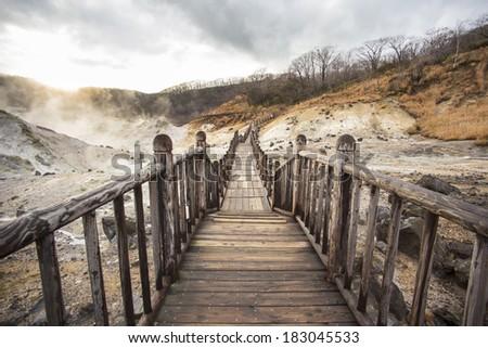 Famous Noboribetsu hot springs, Hokkaido, Japan - stock photo