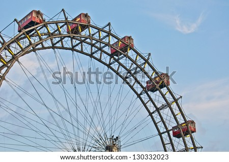 famous old ferris wheel at the Prater in Vienna - stock photo