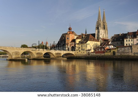 famous old town of Regensburg in Germany - stock photo