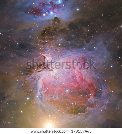 Famous Orion nebula in the constellation of Orion. - stock photo