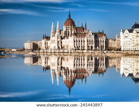 Famous Parliament with river in Budapest, Hungary - stock photo