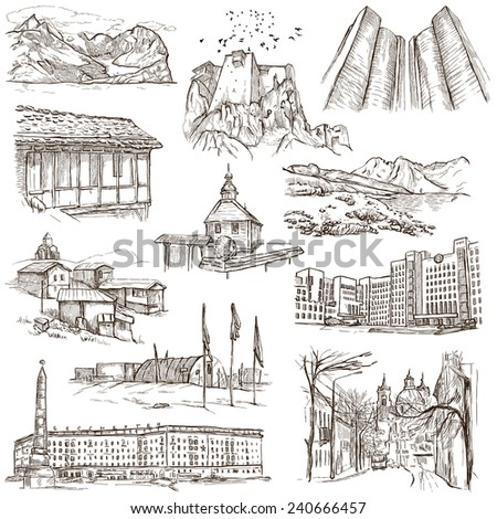 Famous places and Architecture around the World - Collection (no.15) of an full sized hand drawn illustrations. Hand drawn illustrations drawing on white background. - stock photo