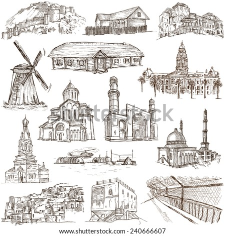 Famous places and Architecture around the World - Collection (no.13) of an full sized hand drawn illustrations. Hand drawn illustrations drawing on white background. - stock photo