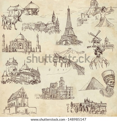 Famous places, buildings and architecture around the world (set no.1, old paper ) - Collection of an hand drawn illustrations. Description: Full sized hand drawn illustrations drawing on old paper. - stock photo