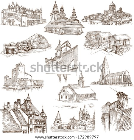 Famous places, buildings and architecture around the World (set no.8, white) - Collection of an hand drawn illustrations. Description: Full sized hand drawn illustrations drawing on white background. - stock photo
