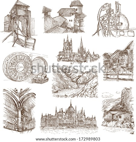 Famous places, buildings and architecture around the World (set no.9, white) - Collection of an hand drawn illustrations. Description: Full sized hand drawn illustrations drawing on white background. - stock photo