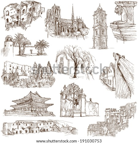 Famous places, buildings and architecture around the World (set no.11, white) - Collection of an hand drawn illustrations. Description: Full sized hand drawn illustrations drawing on white background - stock photo