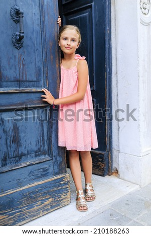 Famous places in Europe, Portrait of fashion girl - Italy, Venice - stock photo