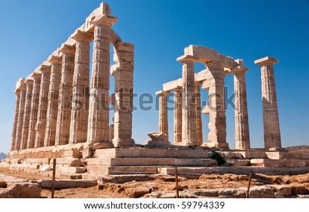 Famous Poseidon Temple, Greece - stock photo