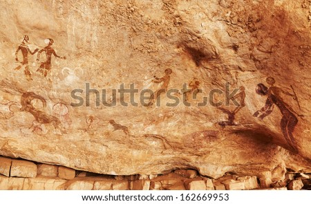 Famous prehistoric rock paintings of Tassili N'jjer, Algeria  - stock photo