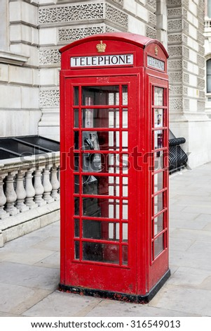 Famous red phone box, London. Special photographic processing. - stock photo