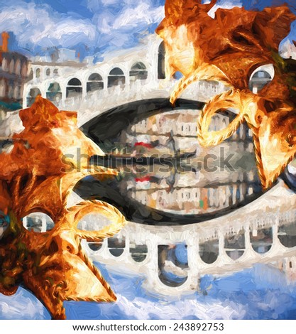 Famous Rialto bridge in Venice, Italy, Oil painting - stock photo