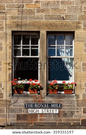 Famous Royal Mile Street in Edinburgh, Scotland. - stock photo
