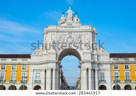 Famous Rua Augusta Arch at sunset in Lisbon, Portugal - stock photo