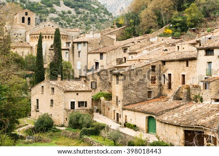 Famous Saint Guilhem le Desert village protected by UNESCO, France - stock photo