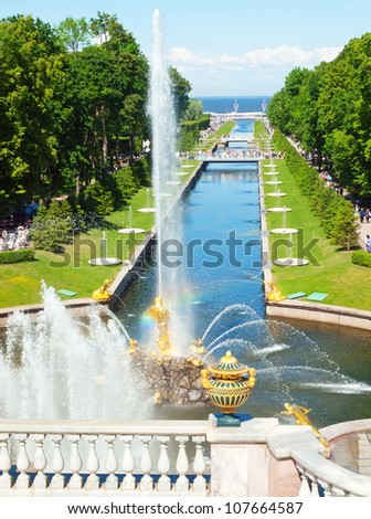 Famous Samson and the Lion fountain in Peterhof Grand Cascade, St. Petersburg, Russia.sunny day - stock photo