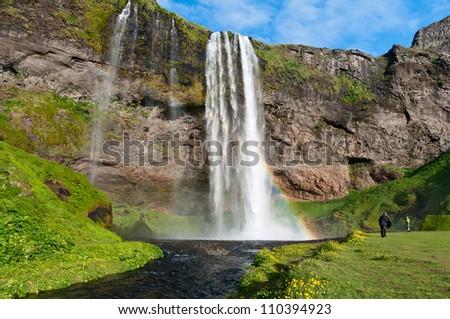 famous Seljalandsfoss waterfall of Iceland - stock photo