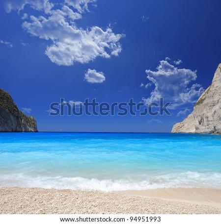 Famous shipwreck beach (Navaggio beach) on Zante island, Greece - stock photo