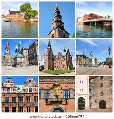 Famous sights of Copenhagen. Denmark - stock photo