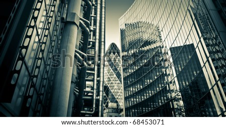 Famous skysrcapers in the financial district of London - stock photo