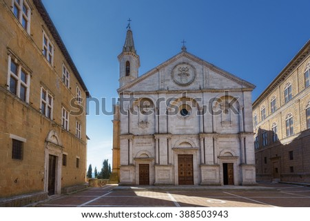 Famous square in front of Duomo in Pienza, ideal Tuscan town, Italy. - stock photo