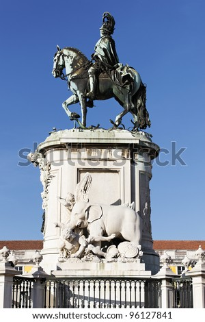 famous statue on commerce square in Lisbon, Portugal - stock photo