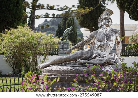 Famous statue Wounded Achilles in the garden of Achillion palace in Corfu, Greece - stock photo