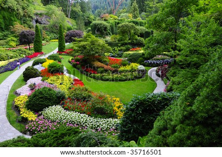 Famous Sunken Garden in Butchart Garden, Victoria Island, Canada - stock photo