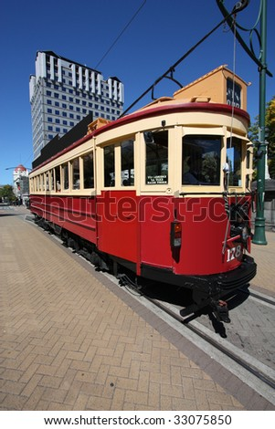 Famous symbol of Christchurch, New Zealand. Red, vintage tramway. Tourist attraction. - stock photo
