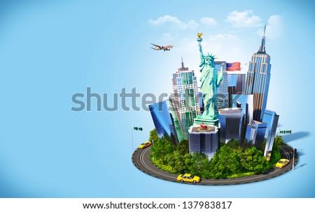 Famous symbols of New York city. Traveling to America - stock photo
