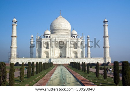 Famous Taj Mahal mausoleum in Agra, India - stock photo