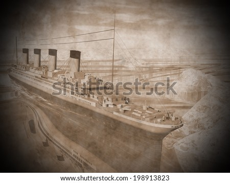 Famous Titanic ship floating among icebergs on the water by cloudy day - stock photo