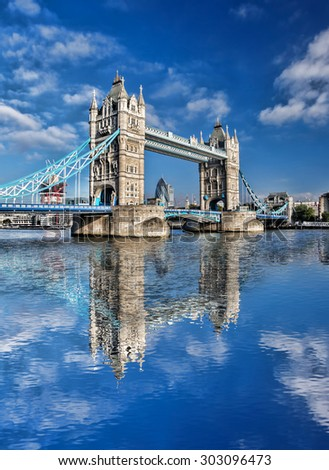 Famous Tower Bridge against blue sky in  London, England - stock photo