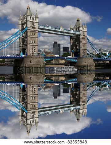 Famous Tower Bridge in London, UK - stock photo