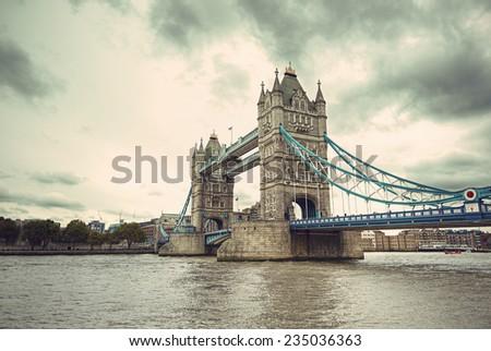 Famous Tower Bridge vintage style, London, England, United Kingdom  - stock photo