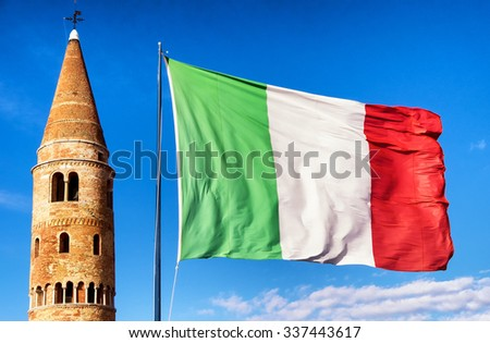 famous tower in caorle - italy - stock photo