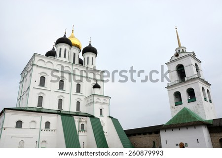 Famous Trinity cathedral in Pskov, Russia - stock photo