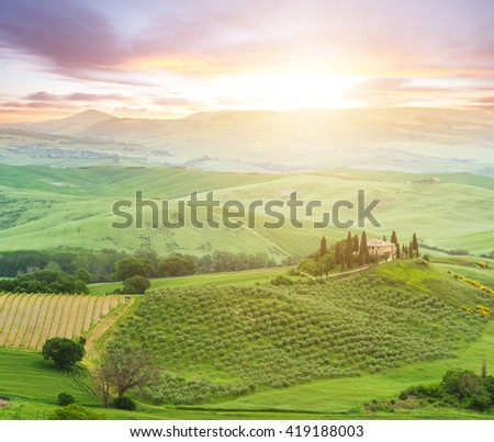 Famous Tuscany Belvedere farm house in Italy - stock photo